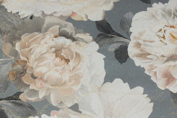 Elegant deco-fabric in grey with big off white roses and discrete gold-glimmer