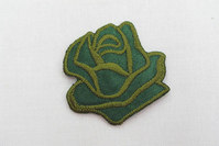 Green rose iron-on-patch size 3.5 cm
