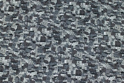 Grey patchwork cotton with small houses