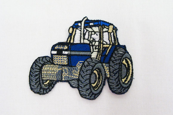 Ironing patch with tractor, blue