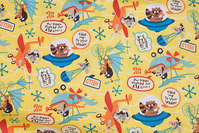 Light yellow cotton with animals and airplanes