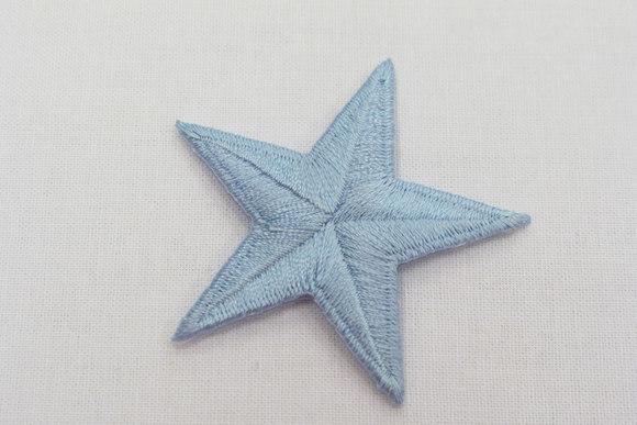 Lightblue star iron-on patch, diameter 5 cm