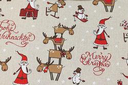 Linen-look with Santas and reindeer