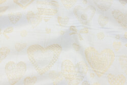 Off white table-cloth-satin with gold-hearts