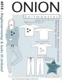 Raglan-sleeve top and pants for knits. Onion 6018.