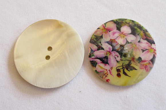 Pearlmother button with flowers