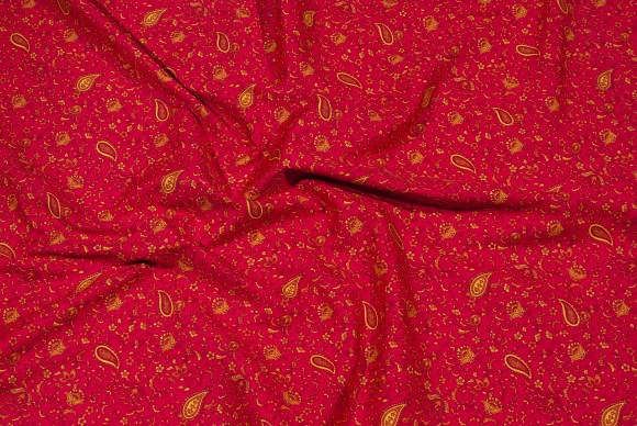 Red cotton with yellow paisley-pattern