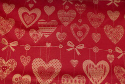 Red table-cloth-satin with gold-hearts