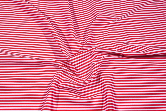 Red-white cadet-striped cotton-twill