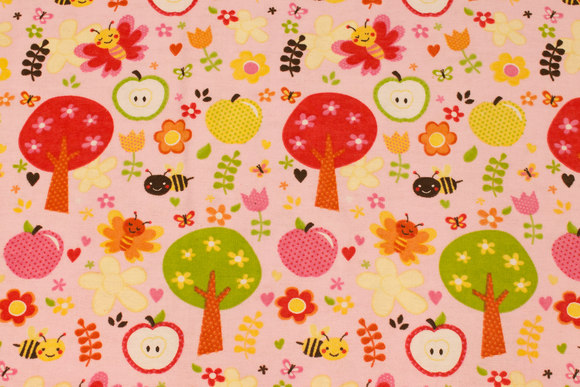 Soft red cotton-flanel with trees and flowers