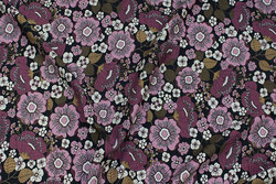 Cotton-jersey with dusty-purple flowers