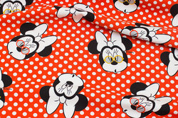 Red cotton-jersey with ca. 7 cm Minnie Mouse heads
