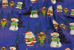 Lavendar-blue christmas jersey with snowmen and Santas