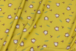 Curry yellow cotton-jersey with small owls