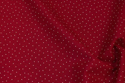 Medium-thickness, winter-red linen and cotton with mini-dots