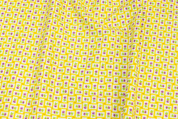 Patchwork-cotton with small yellow checks and purple flower