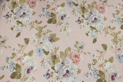 Delicate soft red deko-fabric with roses