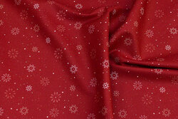 Red cotton with light snow-crystals