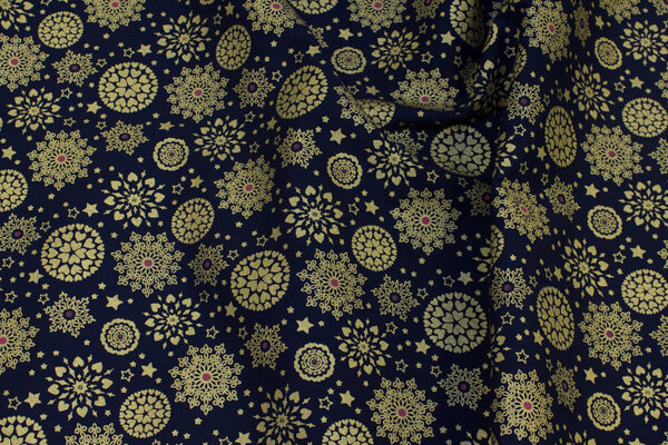 Navy cotton with 2-3 cm gold print