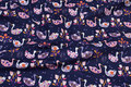 Navy baby corduroy with soft red and light-purple swans.