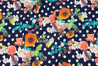 Navy cotton-jersey with dots and flowers