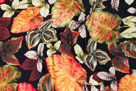 Black viscosejersey with beautiful leaves in golden nuances