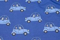 Medium-blue, lightweight sweatshirt fabric with cars