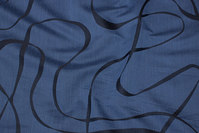 Lightweight polyester in dusty navy with black line-pattern