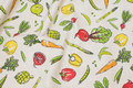 Linen-colored deco-fabric with vegetables