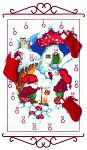 Christmas calendar with elfs in snow landscape
