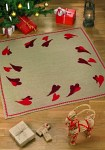 Christmas tree skirt, sqaure, with heart embroidery
