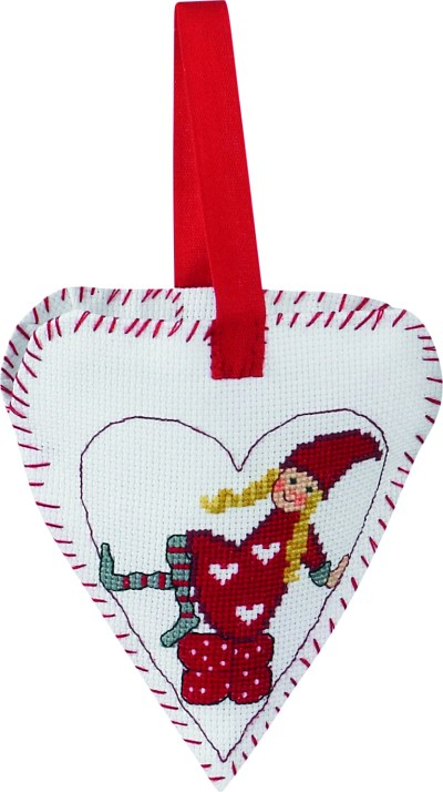 Christmas heart with girl-elf embroidery