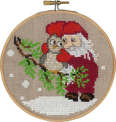 Santa claus and owl, christmas wall embroidery