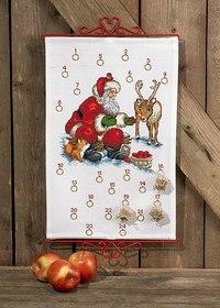 Christmas calendar with santa claus and reindeer