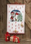 Christmas calendar with santa claus, barn and tree