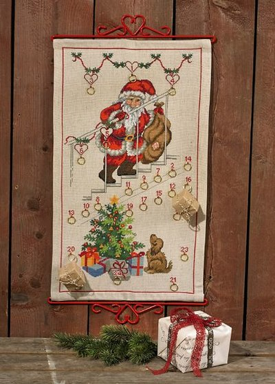 Christmas calendar with santa claus on stairs