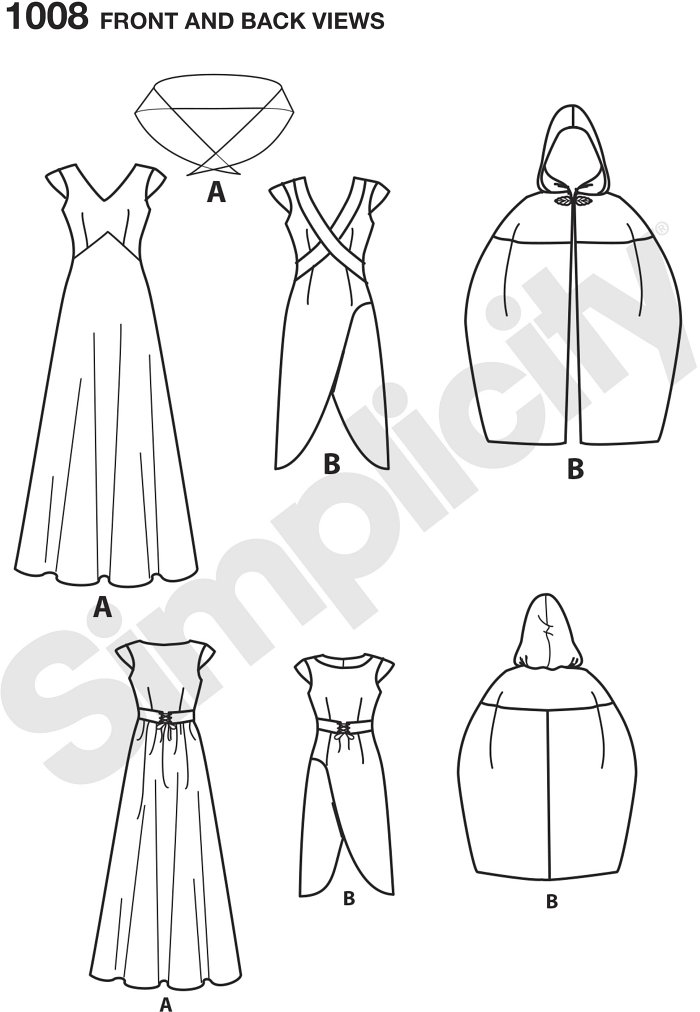 This medieval fantasy costume is designed for travel and adventure. Pattern includes floor length gown, high low day dress and close fitting knee length cape with hood. Simplicity sewing pattern.