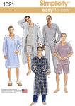 Simplicity 1021. Mens Classic Pajamas and Robe.