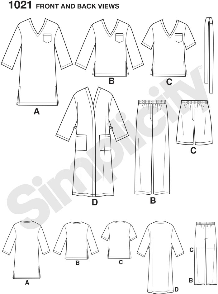 This easy to sew pajama pattern for men includes long robe, night shirt, pajama top with short or long sleeves and pocket plus pull on pj bottom long or short. Simplicity sewing pattern.