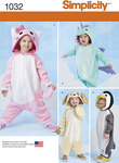 Simplicity 1032. Toddlers´ Animal Costumes.