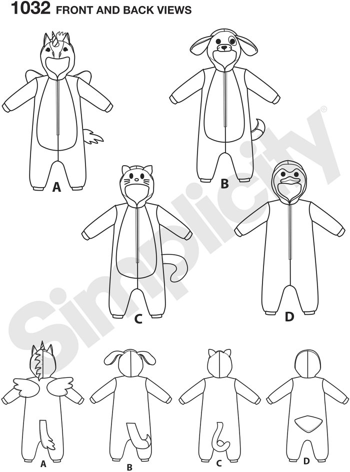 These fleecy animal costumes will keep your toddler warm and happy this Halloween. Pattern includes unicorn with wings, dog, cat and penguin. Andrea Schewe Designs for Simplicity.