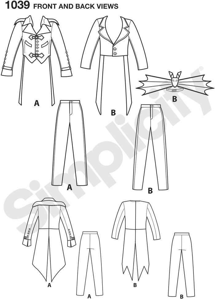 These great costumes for men are perfect for your next cosplay event, costume party, steampunk or comic book convention. Pattern includes jacket in two styles and Trousers with fly front opening. Arkivestry for Simplicity.