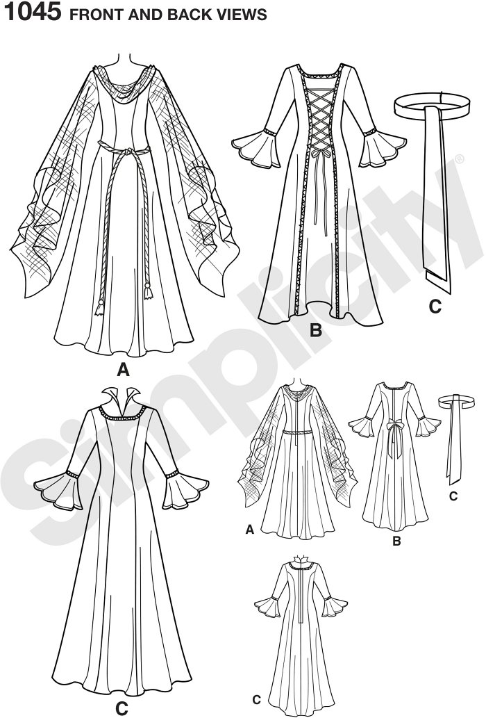 Misses´ full length costume gowns include gown view A with draped neckline and hanging sleeves, view B with tied front of bodice and long sleeve with flounce, and view C with long sleeve with flounce and belt.