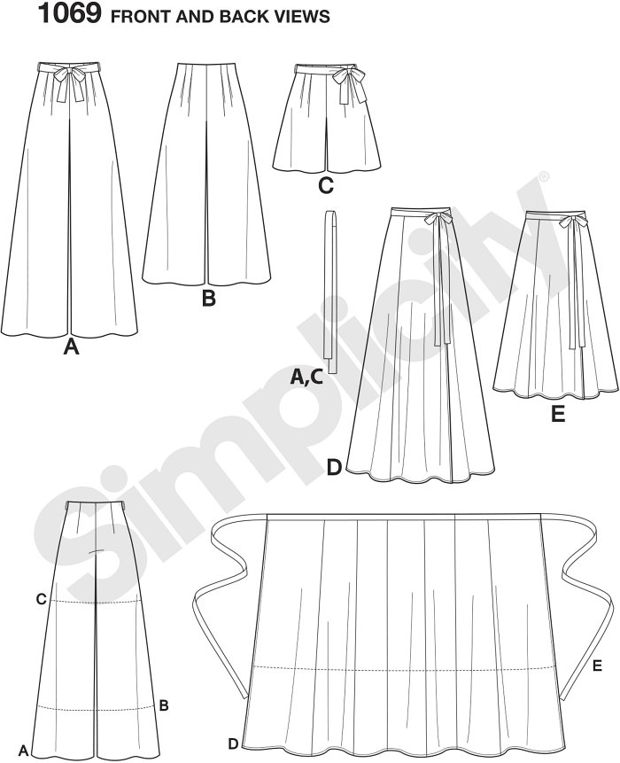 Misses wide leg Trousers can be full length with carriers and tie belt or cropped, or can be shorts with carriers and tie belt. All with back zipper. Real wrap skirt can be floor or midi length. Simplicity sewing pattern.
