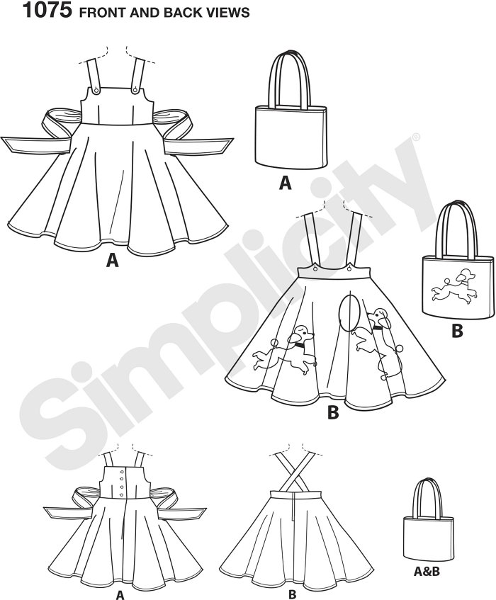 Child´s vintage 1950´s pattern includes jumper with tied bow in back, skirt with buttoned on shoulder straps and poodle appliques, and bag with our without poodle applique. Simplicity sewing pattern.