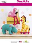 Stuffed Hippo, Giraffe and Flamingo