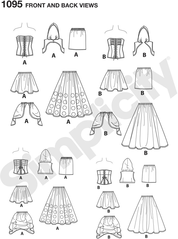 Have a time travel adventure with these incredible costumes for misses. Gowns feature corset tops, bustles and appliques. Loriann Costume Designs for Simplicity. Perfect for Cosplay.