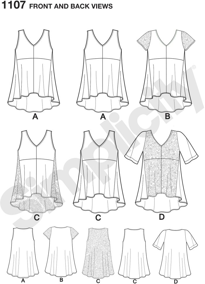 Misses´ high low tops can be made with several variations including sleeveless with or without side and back contrast, short contrast sleeves or half sleeves with front lace overlay. Simplicity sewing pattern.