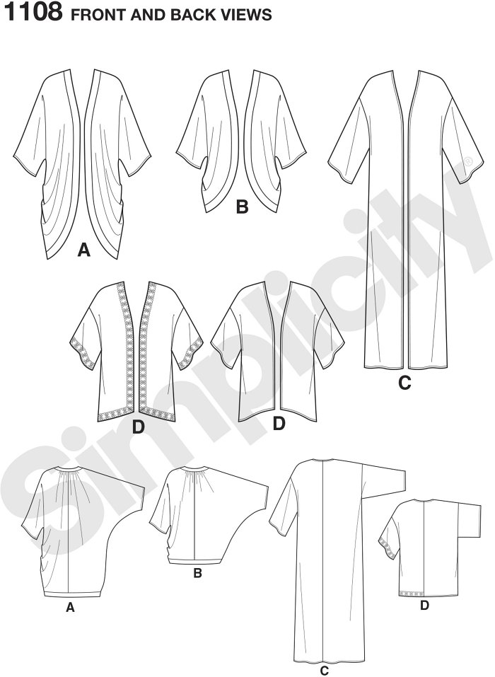 Misses´ kimono pattern features styles for every occasion. Pattern includes draped kimono in short, or long with contrast bands, stright floor length kimono, and short kimono with or without trim.