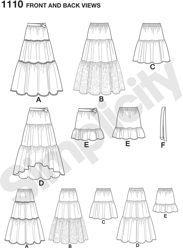 This Easy-to-Sew  skirt for misses´ can feature three tiers with yarn pom trim, lace overlay, or high low hemline, or two tiers in knee length or mini. Pattern also includes belt. Simplicity sewing pattern.